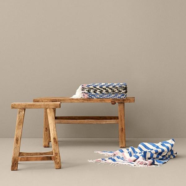 Stribet håndklæde, hvid/blå