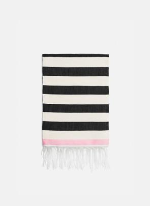 Stribet håndklæde, hvid/sort